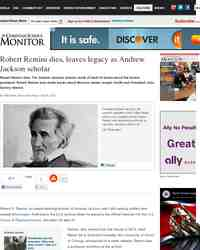 Robert Remini dies leaves legacy as Andrew Jackson: Christian Science Monitor